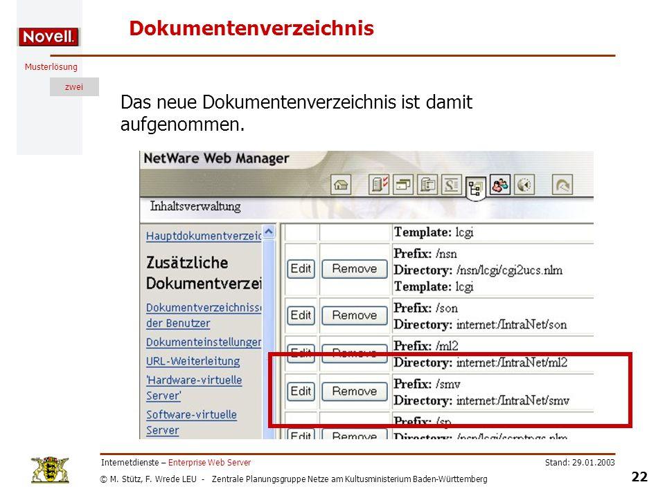 © M. Stütz, F. Wrede LEU - Zentrale Planungsgruppe Netze am Kultusministerium Baden-Württemberg Musterlösung zwei Stand: 29.01.2003 22 Internetdienste