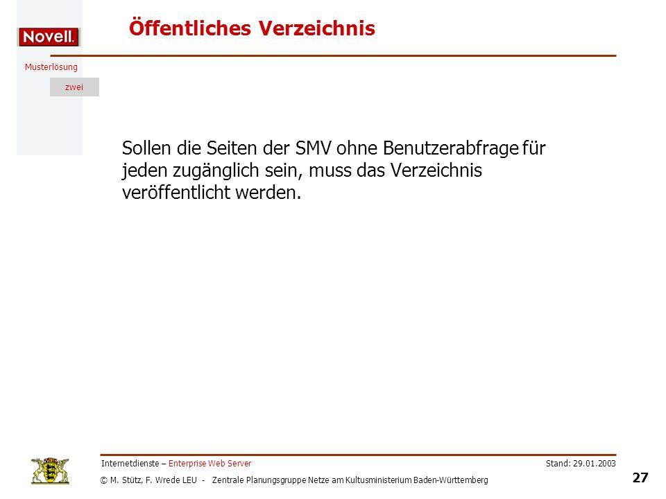 © M. Stütz, F. Wrede LEU - Zentrale Planungsgruppe Netze am Kultusministerium Baden-Württemberg Musterlösung zwei Stand: 29.01.2003 27 Internetdienste