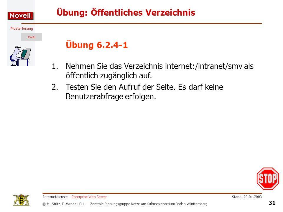 © M. Stütz, F. Wrede LEU - Zentrale Planungsgruppe Netze am Kultusministerium Baden-Württemberg Musterlösung zwei Stand: 29.01.2003 31 Internetdienste