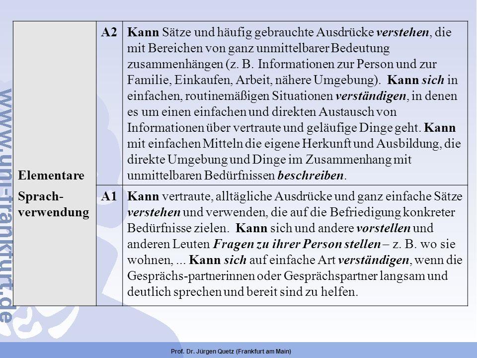 Prof. Dr. Jürgen Quetz (Frankfurt am Main) Elementare A2Kann Sätze und häufig gebrauchte Ausdrücke verstehen, die mit Bereichen von ganz unmittelbarer