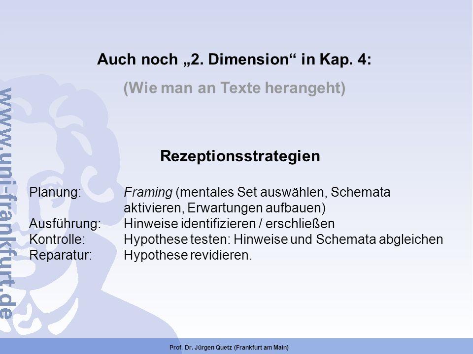Auch noch 2. Dimension in Kap. 4: (Wie man an Texte herangeht) Rezeptionsstrategien Planung:Framing (mentales Set auswählen, Schemata aktivieren, Erwa