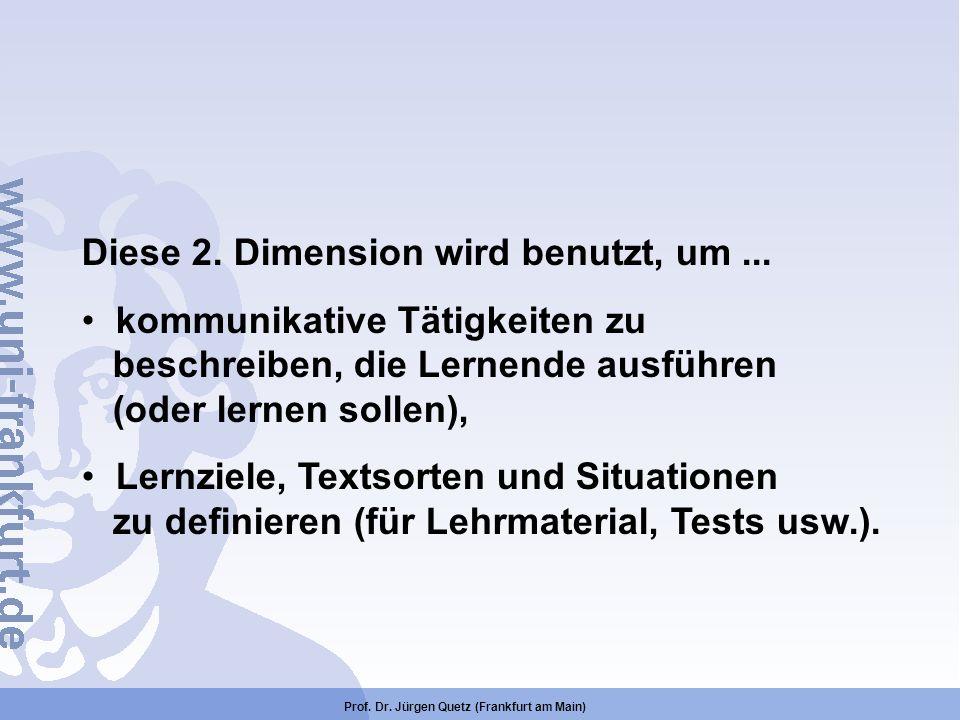 Prof. Dr. Jürgen Quetz (Frankfurt am Main) Diese 2. Dimension wird benutzt, um... kommunikative Tätigkeiten zu beschreiben, die Lernende ausführen (od