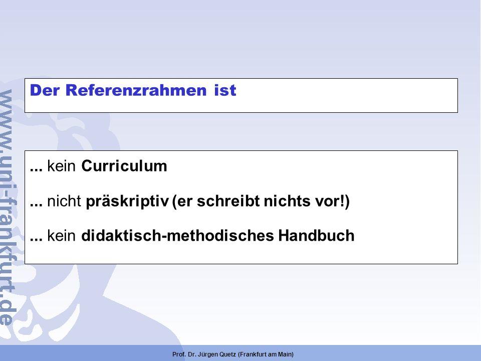 Prof. Dr. Jürgen Quetz (Frankfurt am Main) Der Referenzrahmen ist... kein Curriculum... nicht präskriptiv (er schreibt nichts vor!)... kein didaktisch