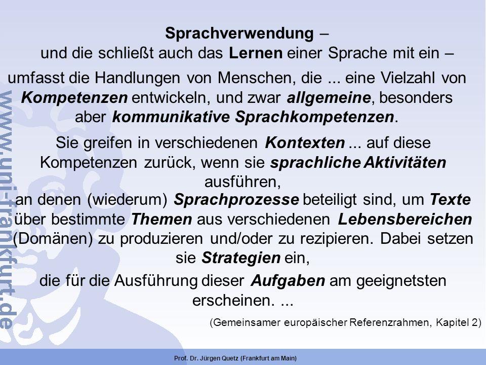Prof. Dr. Jürgen Quetz (Frankfurt am Main) Sprachverwendung – und die schließt auch das Lernen einer Sprache mit ein – umfasst die Handlungen von Mens