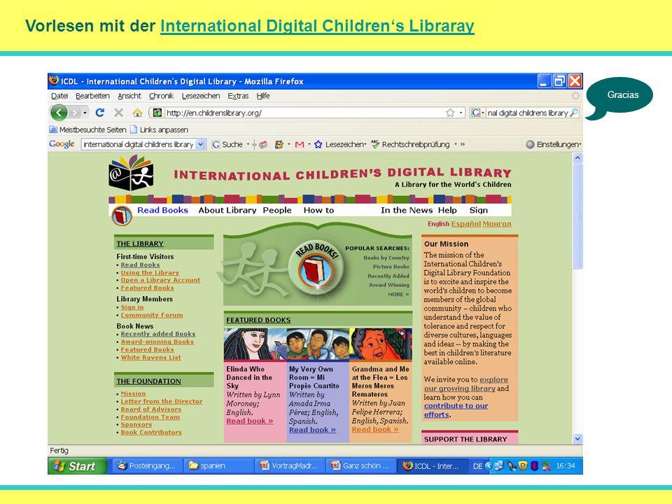 Vorlesen mit der International Digital Childrens LibrarayInternational Digital Childrens Libraray DankeGracias