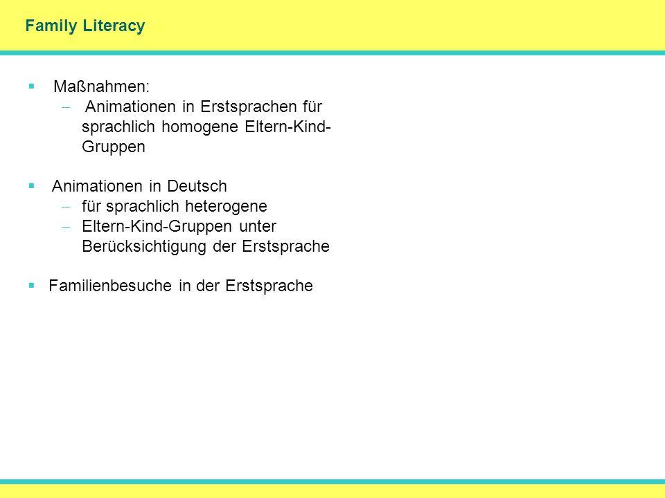 Family Literacy DankeMerci Maßnahmen: Animationen in Erstsprachen für sprachlich homogene Eltern-Kind- Gruppen Animationen in Deutsch für sprachlich h
