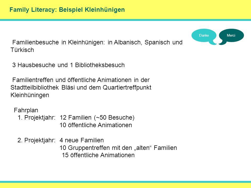 Family Literacy: Beispiel Kleinhünigen DankeMerci Familienbesuche in Kleinhünigen: in Albanisch, Spanisch und Türkisch 3 Hausbesuche und 1 Bibliotheks