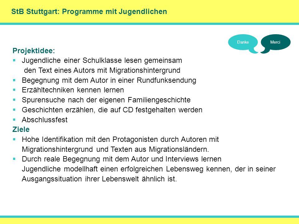 StB Stuttgart: Programme mit Jugendlichen DankeMerci Projektidee: Jugendliche einer Schulklasse lesen gemeinsam den Text eines Autors mit Migrationshi