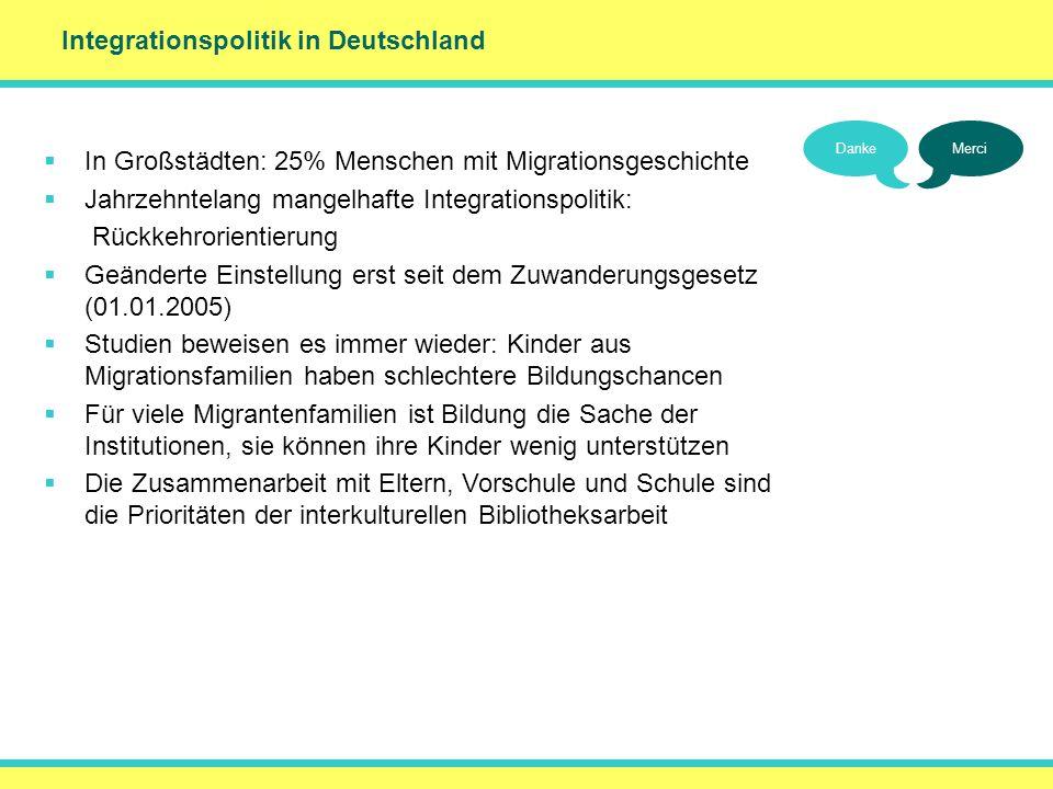 Integrationspolitik in Deutschland In Großstädten: 25% Menschen mit Migrationsgeschichte Jahrzehntelang mangelhafte Integrationspolitik: Rückkehrorien