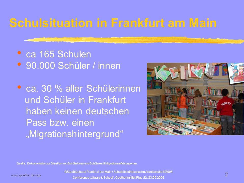 ©Stadtbücherei Frankfurt am Main / Schulbibliothekarische Arbeitsstelle 8/2005 Conference Library & School, Goethe-Institut Riga 22./23.09.2005 www.goethe.de/riga 3 sba der Stadtbücherei Frankfurt a.