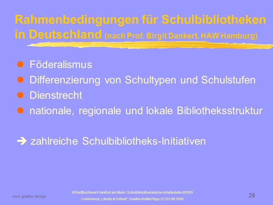 ©Stadtbücherei Frankfurt am Main / Schulbibliothekarische Arbeitsstelle 8/2005 Conference Library & School, Goethe-Institut Riga 22./23.09.2005 www.goethe.de/riga 30 Typen von Schulbibliotheken in Deutschland (nach Prof.