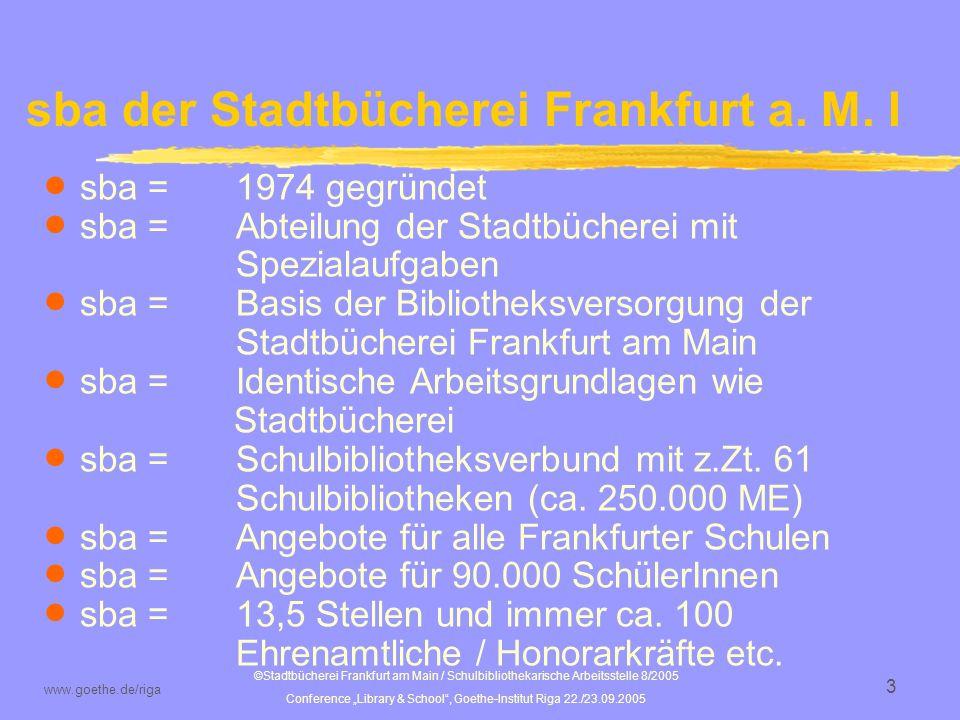 ©Stadtbücherei Frankfurt am Main / Schulbibliothekarische Arbeitsstelle 8/2005 Conference Library & School, Goethe-Institut Riga 22./23.09.2005 www.goethe.de/riga 4 sba der Stadtbücherei Frankfurt a.M.