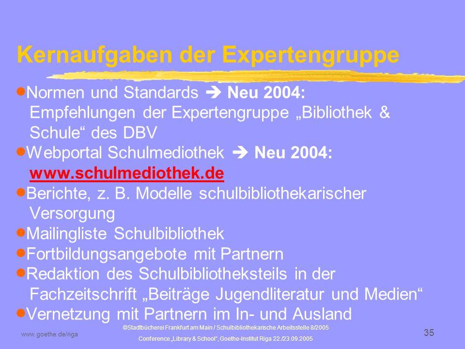 ©Stadtbücherei Frankfurt am Main / Schulbibliothekarische Arbeitsstelle 8/2005 Conference Library & School, Goethe-Institut Riga 22./23.09.2005 www.goethe.de/riga 36 Schulbibliotheksportal www.schulmediothek.de