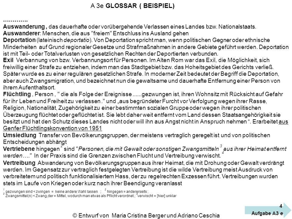 © Entwurf von Maria Cristina Berger und Adriano Ceschia A 3e GLOSSAR ( BEISPIEL) …………. Auswanderung, das dauerhafte oder vorübergehende Verlassen eine
