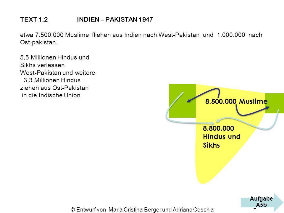 TEXT 1.2 INDIEN – PAKISTAN 1947 etwa 7.500.000 Muslime fliehen aus Indien nach West-Pakistan und 1.000.000 nach Ost-pakistan. 5,5 Millionen Hindus und