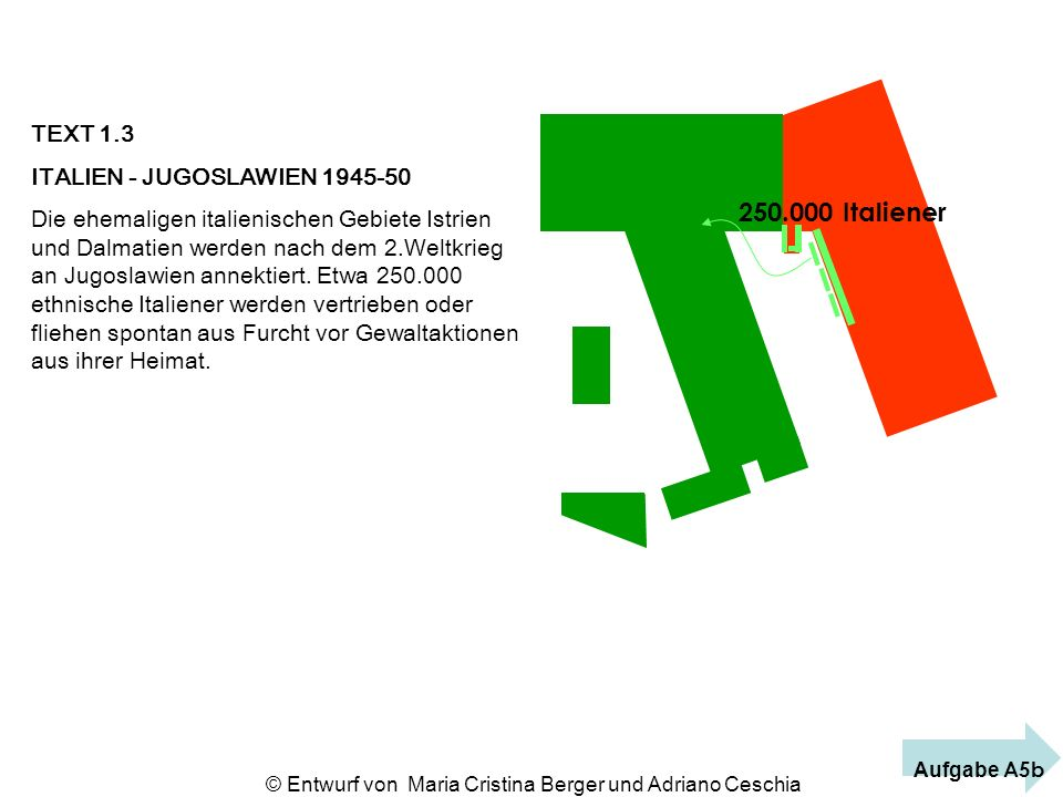TEXT 1.3 ITALIEN - JUGOSLAWIEN 1945-50 Die ehemaligen italienischen Gebiete Istrien und Dalmatien werden nach dem 2.Weltkrieg an Jugoslawien annektier