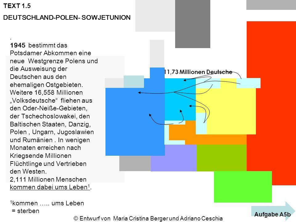 TEXT 1.5 DEUTSCHLAND-POLEN- SOWJETUNION 11,73 Millionen Deutsche. 1945 bestimmt das Potsdamer Abkommen eine neue Westgrenze Polens und die Ausweisung