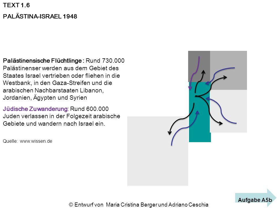 TEXT 1.6 PALÄSTINA-ISRAEL 1948 Palästinensische Flüchtlinge : Rund 730.000 Palästinenser werden aus dem Gebiet des Staates Israel vertrieben oder flie