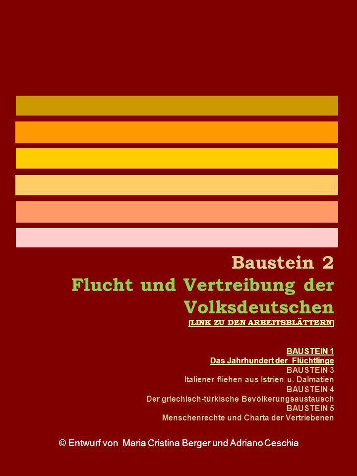 Baustein 2 Flucht und Vertreibung der Volksdeutschen [LINK ZU DEN ARBEITSBLÄTTERN] BAUSTEIN 1 Das Jahrhundert der Flüchtlinge BAUSTEIN 3 Italiener fli