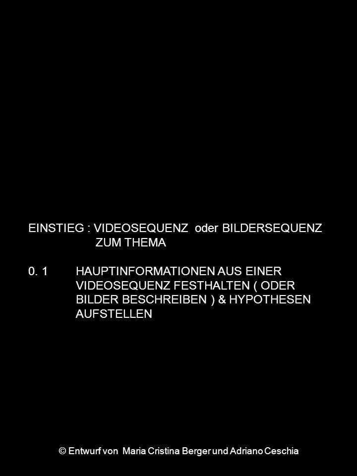 EINSTIEG : VIDEOSEQUENZ oder BILDERSEQUENZ ZUM THEMA 0. 1 HAUPTINFORMATIONEN AUS EINER VIDEOSEQUENZ FESTHALTEN ( ODER BILDER BESCHREIBEN ) & HYPOTHESE