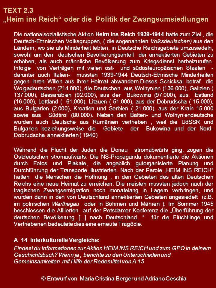 TEXT 2.3 Heim ins Reich oder die Politik der Zwangsumsiedlungen Die nationalsozialistische Aktion Heim ins Reich 1939-1944 hatte zum Ziel, die Deutsch