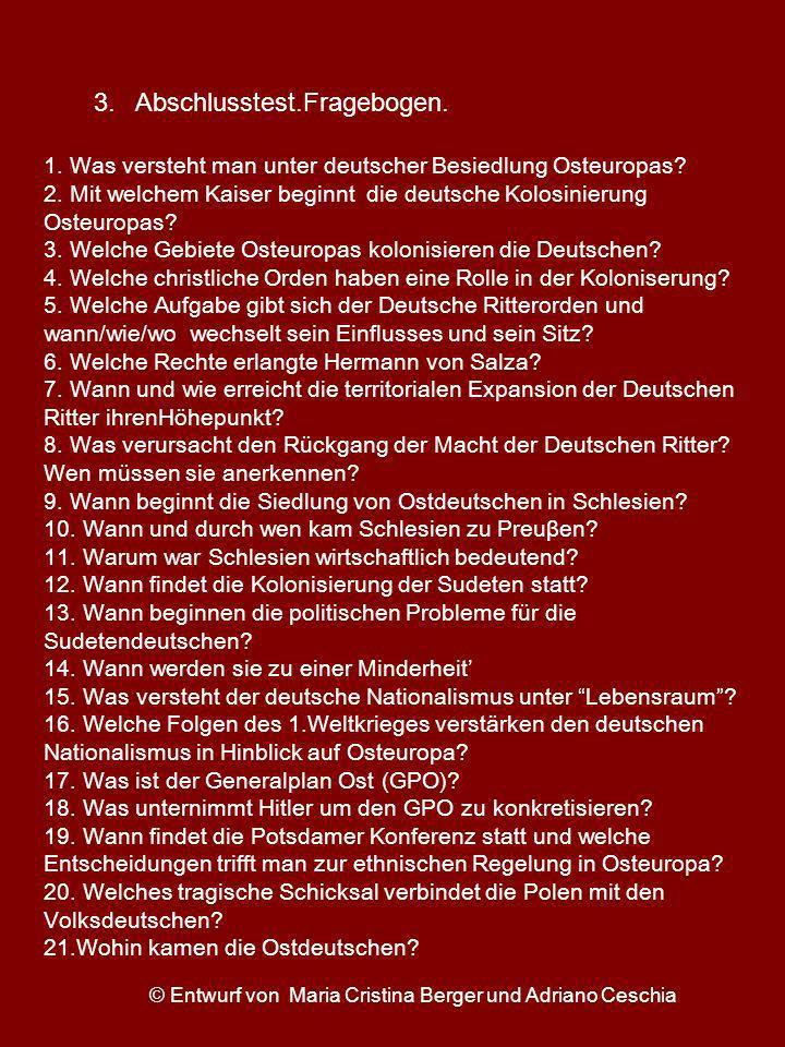 1. Was versteht man unter deutscher Besiedlung Osteuropas? 2. Mit welchem Kaiser beginnt die deutsche Kolosinierung Osteuropas? 3. Welche Gebiete Oste