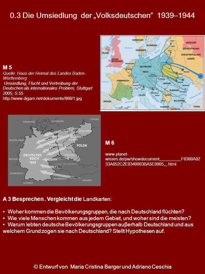 0.3 Die Umsiedlung der Volksdeutschen 1939–1944 A 3 Besprechen. Vergleicht die Landkarten: Woher kommen die Bevölkerungsgruppen, die nach Deutschland
