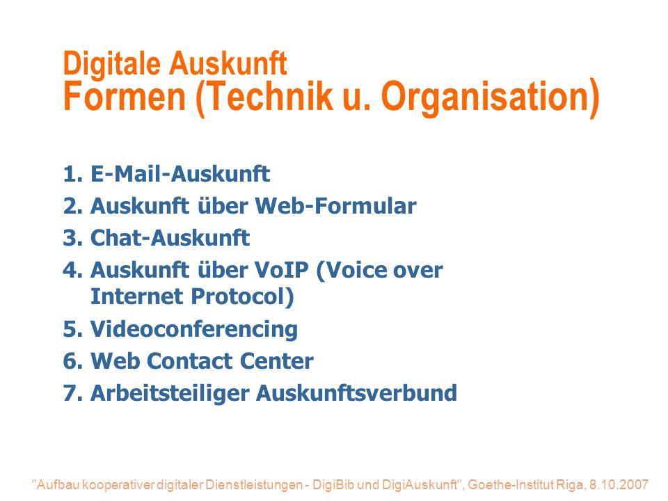 Aufbau kooperativer digitaler Dienstleistungen - DigiBib und DigiAuskunft , Goethe-Institut Riga, 8.10.2007 Digitale Auskunft Formen (Technik u.