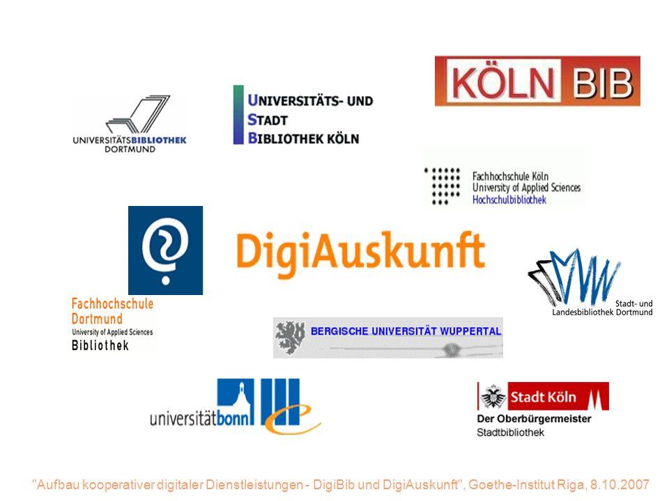 Aufbau kooperativer digitaler Dienstleistungen - DigiBib und DigiAuskunft , Goethe-Institut Riga, 8.10.2007 Nach kurzer Recherche Eingabe der Antwort