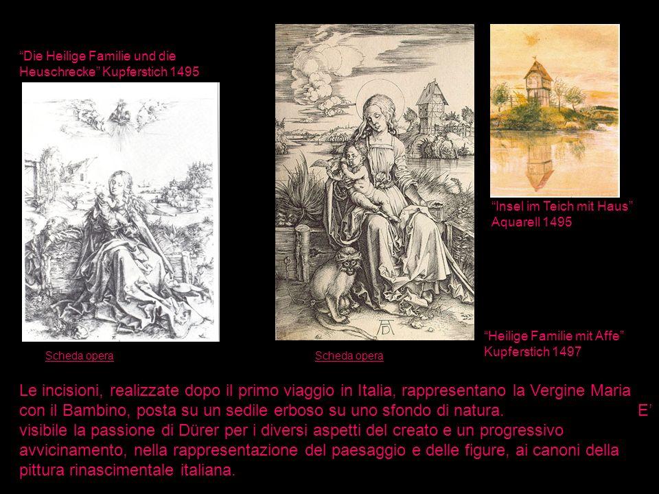 Die Heilige Familie und die Heuschrecke Kupferstich 1495 Heilige Familie mit Affe Kupferstich 1497 Insel im Teich mit Haus Aquarell 1495 Le incisioni,