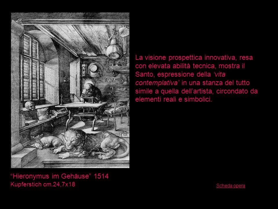 Hieronymus im Gehäuse 1514 Kupferstich cm.24,7x18 La visione prospettica innovativa, resa con elevata abilità tecnica, mostra il Santo, espressione de