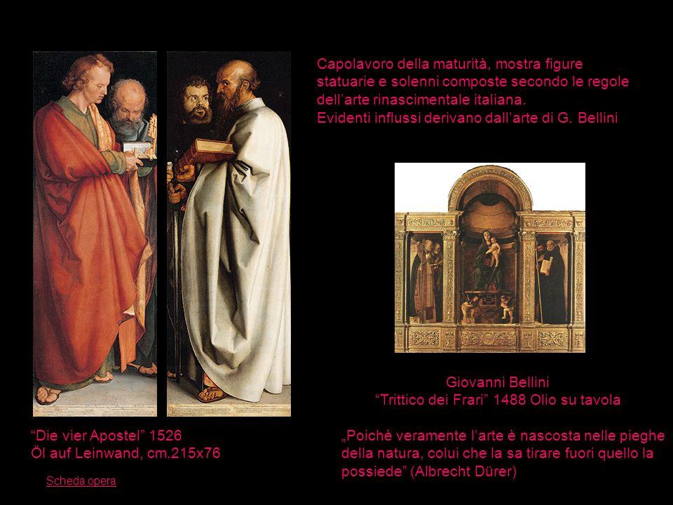 Die vier Apostel 1526 Öl auf Leinwand, cm.215x76 Capolavoro della maturità, mostra figure statuarie e solenni composte secondo le regole dellarte rina