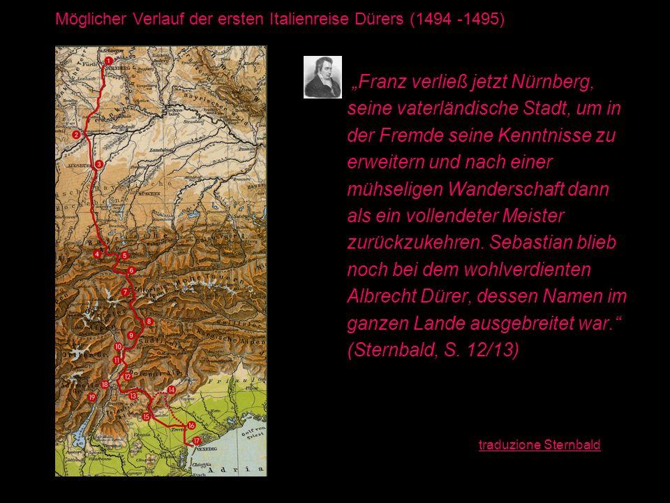 Franz verließ jetzt Nürnberg, seine vaterländische Stadt, um in der Fremde seine Kenntnisse zu erweitern und nach einer mühseligen Wanderschaft dann a