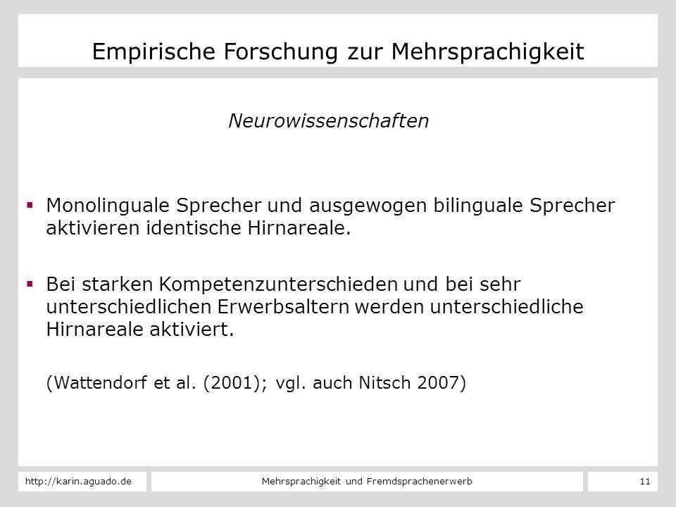 Mehrsprachigkeit und Fremdsprachenerwerbhttp://karin.aguado.de 11 Empirische Forschung zur Mehrsprachigkeit Neurowissenschaften Monolinguale Sprecher