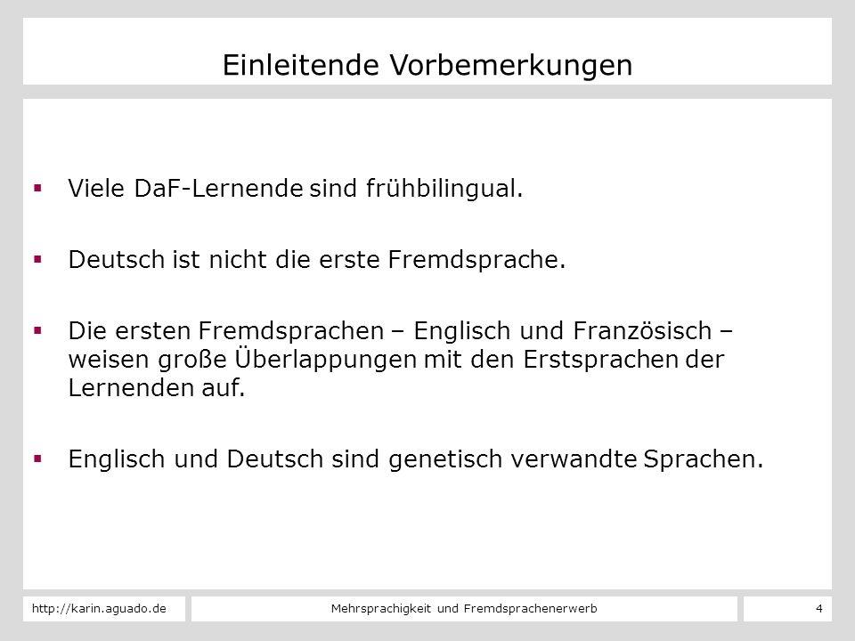 Mehrsprachigkeit und Fremdsprachenerwerbhttp://karin.aguado.de 5 L1-Erwerb – L2-Erwerb – L3-Erwerb INTERNE FAKTOREN Alter Sprache Weltwissen Aufwand Erfolg/ultimate attainment Individuelle Unterschiede