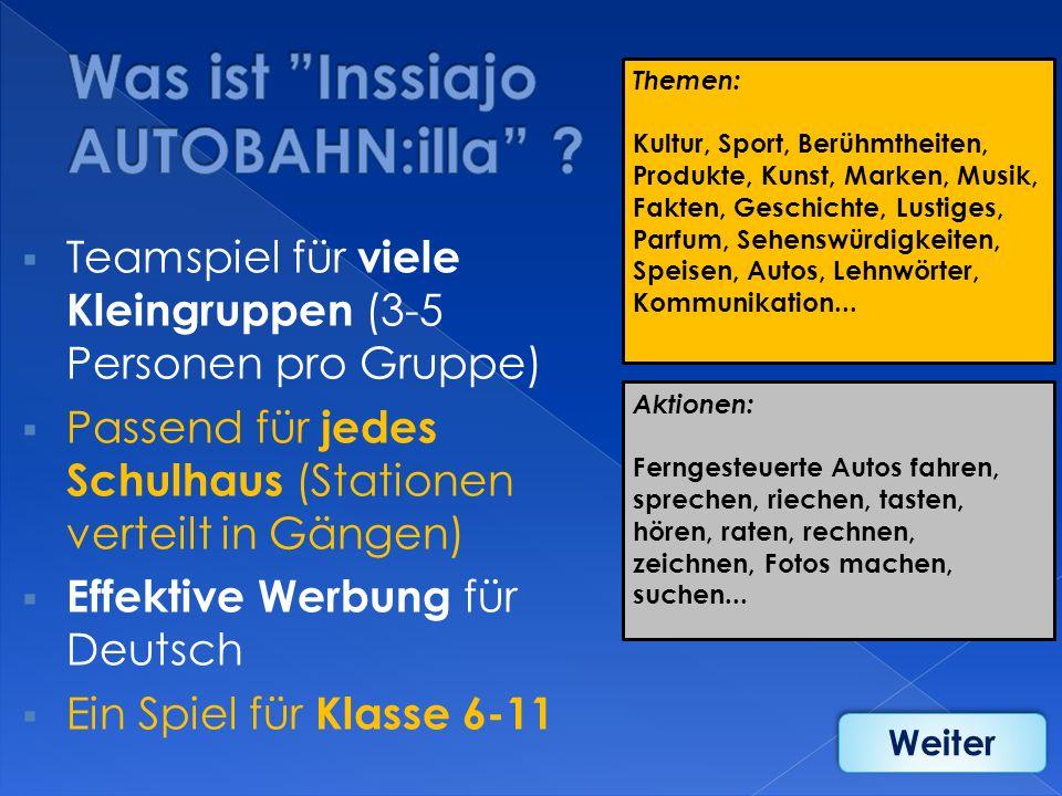 Teamspiel für viele Kleingruppen (3-5 Personen pro Gruppe) Passend für jedes Schulhaus (Stationen verteilt in Gängen) Effektive Werbung für Deutsch Ei