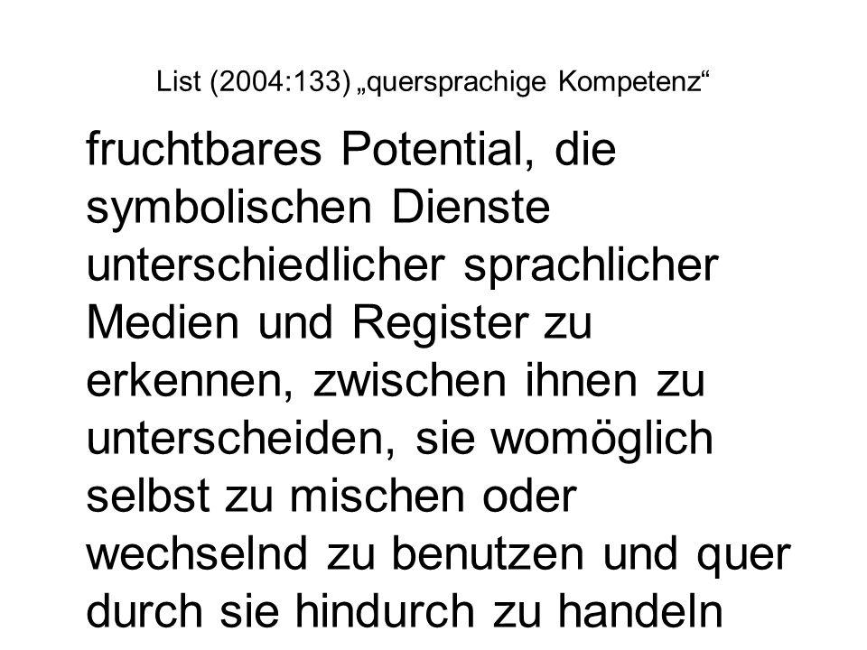 List (2004:133) quersprachige Kompetenz fruchtbares Potential, die symbolischen Dienste unterschiedlicher sprachlicher Medien und Register zu erkennen