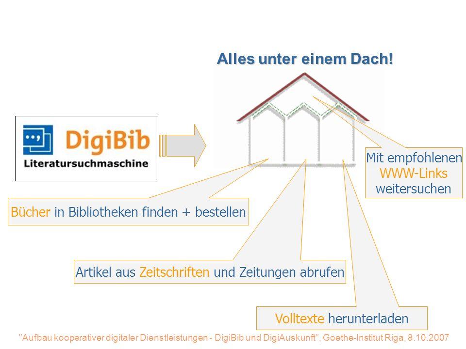 Aufbau kooperativer digitaler Dienstleistungen - DigiBib und DigiAuskunft , Goethe-Institut Riga, 8.10.2007 Digibib-Literatursuchmaschine Users want unified access - Vielen Dank für Ihre Aufmerksamkeit.
