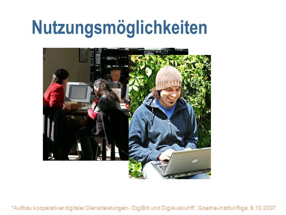 Aufbau kooperativer digitaler Dienstleistungen - DigiBib und DigiAuskunft , Goethe-Institut Riga, 8.10.2007 Digitale Bibliothek Organisation n Zentraler Partner: Hochschulbibliothekszentrum Köln n Über 100 Bibliotheken angeschlossen (Stadt-, Fachhochschul- und Universitäts-, und Spezialbibliotheken)