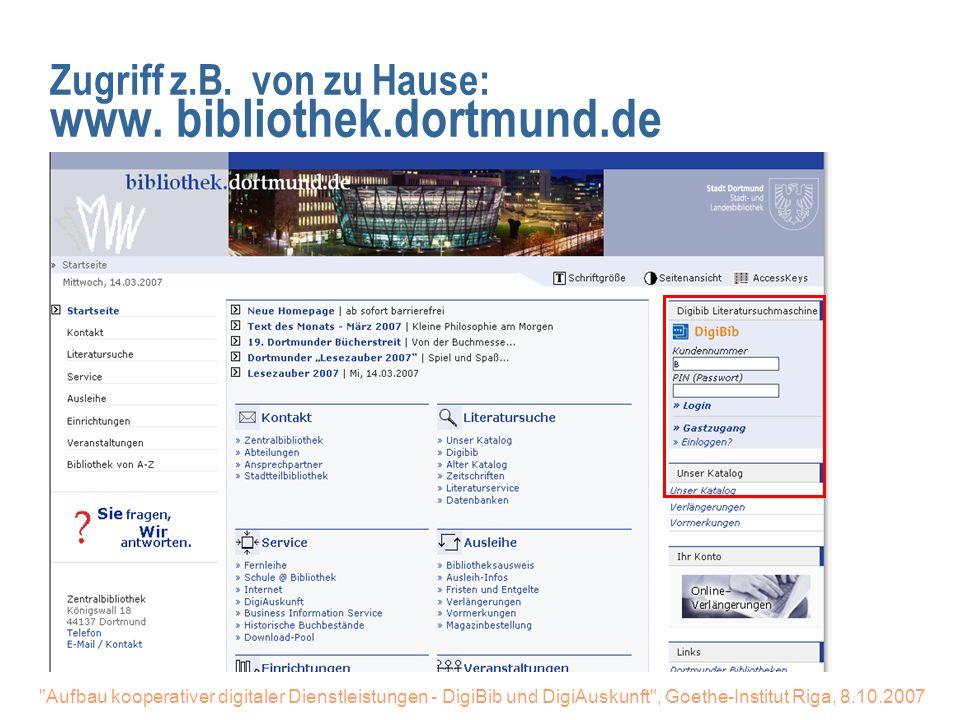 Aufbau kooperativer digitaler Dienstleistungen - DigiBib und DigiAuskunft , Goethe-Institut Riga, 8.10.2007 Bücher