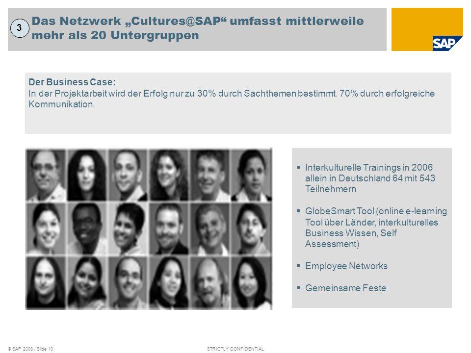 © SAP 2008 / Slide 9STRICTLY CONFIDENTIAL GlobeSmart ist ein zentrales Mittel, um die interkul- turellen Fähigkeiten unserer Mitarbeiter zu verbessern