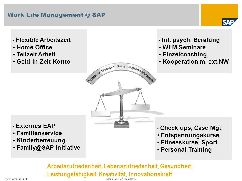 © SAP 2008 / Slide 15STRICTLY CONFIDENTIAL U n t e r n e h m e n s k u l t u r Kulturen @ SAP Generationen @ SAP Behinderung @ SAPBeruf & Familie @ SA