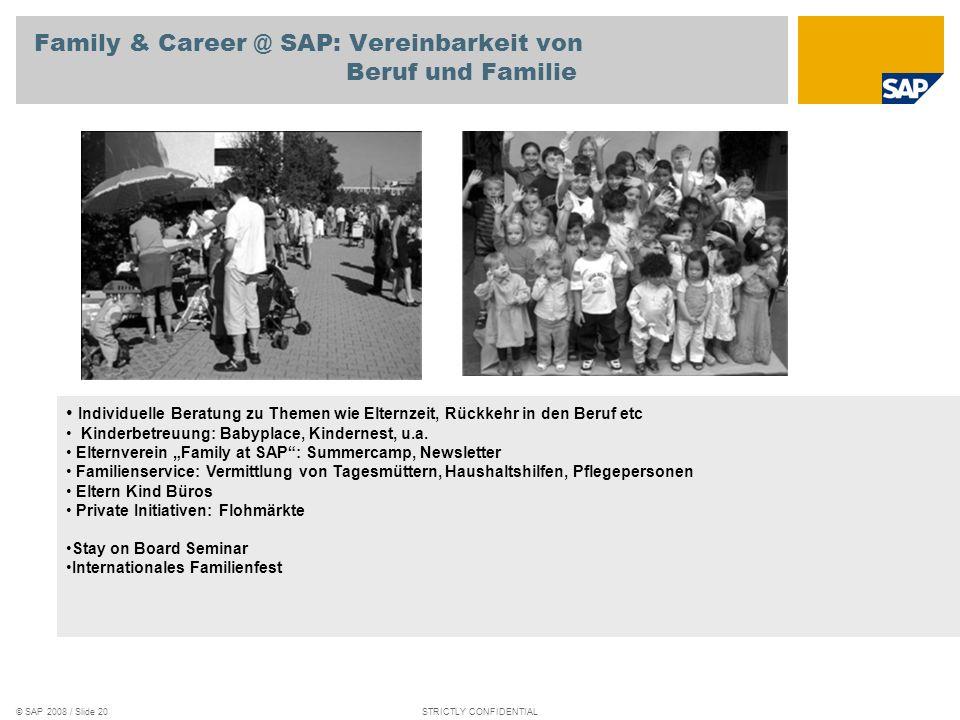 © SAP 2008 / Slide 19STRICTLY CONFIDENTIAL GLBT (SOGI) @ SAP: Toleranz und Offenheit Aktives Mitarbeiter Netzwerk HomoSAPiens Newsletter und Online Co