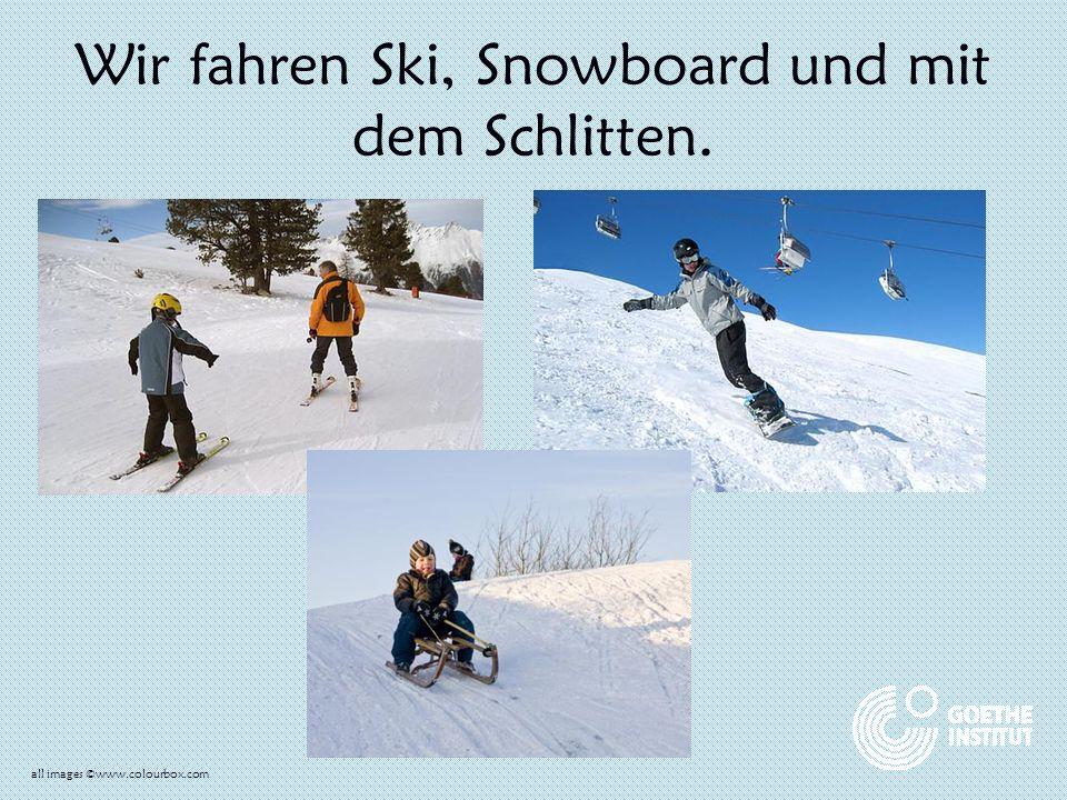 Wir fahren Ski, Snowboard und mit dem Schlitten. all images ©www.colourbox.com