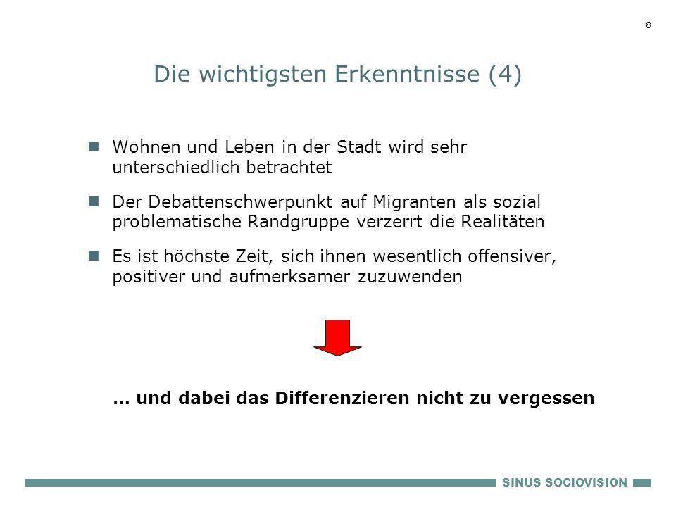 SINUS SOCIOVISION 7 Die wichtigsten Erkenntnisse (3) Die sozialhierarchischen Unterschiede sind geringer als in der autochthonen deutschen Bevölkerung
