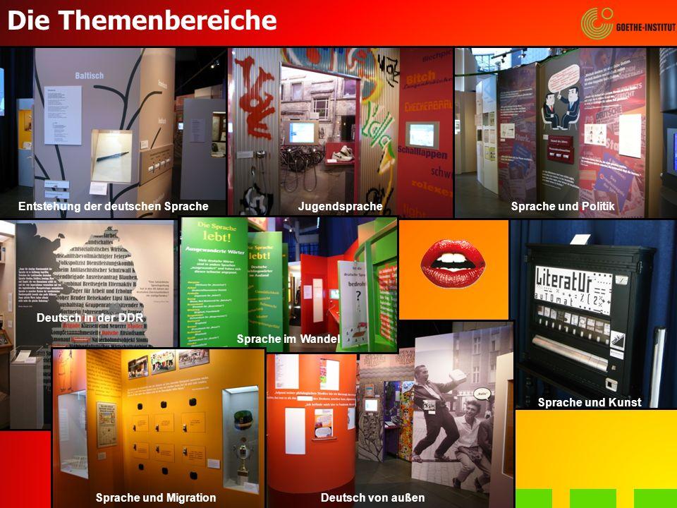 Die Themenbereiche Entstehung der deutschen SpracheJugendspracheSprache und Politik Deutsch in der DDR Deutsch von außen Sprache und Kunst Sprache im