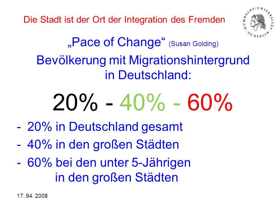 Die Stadt ist der Ort der Integration des Fremden Pace of Change (Susan Golding) Bevölkerung mit Migrationshintergrund in Deutschland: 20% - 40% - 60%