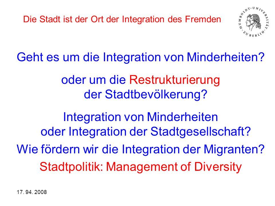 Die Stadt ist der Ort der Integration des Fremden Geht es um die Integration von Minderheiten? oder um die Restrukturierung der Stadtbevölkerung? Inte