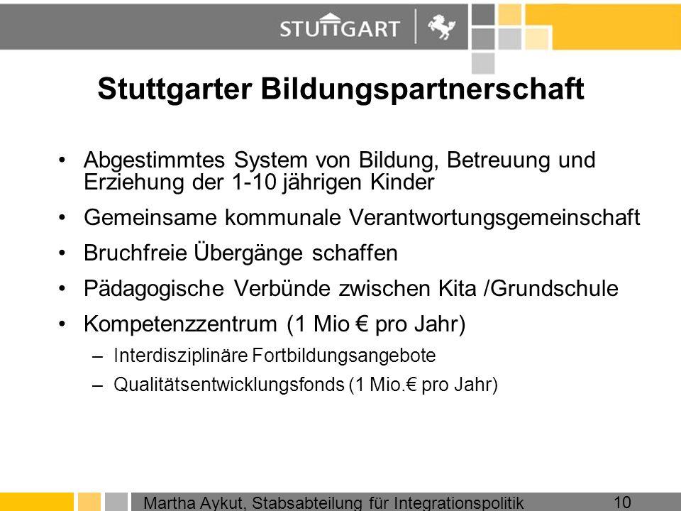 Martha Aykut, Stabsabteilung für Integrationspolitik 10 Stuttgarter Bildungspartnerschaft Abgestimmtes System von Bildung, Betreuung und Erziehung der