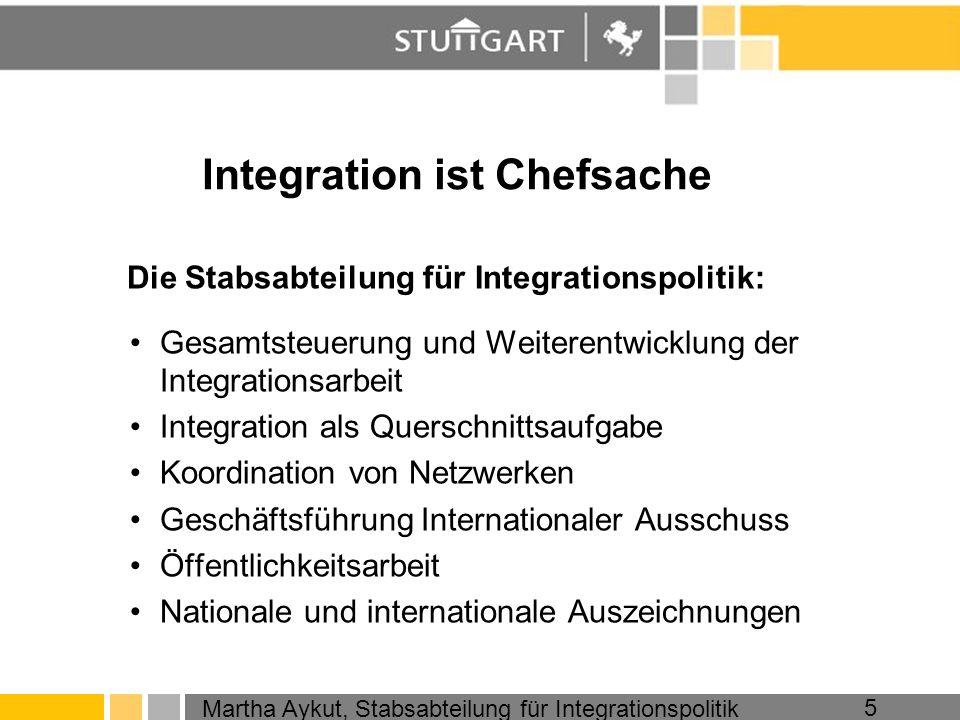 Martha Aykut, Stabsabteilung für Integrationspolitik 5 Integration ist Chefsache Die Stabsabteilung für Integrationspolitik: Gesamtsteuerung und Weite